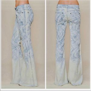 Free people Discharge Bali flared bottom jeans